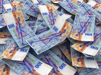 Swiss Currency Bank Notes (Swiss Francs). Pile of 100 CHF